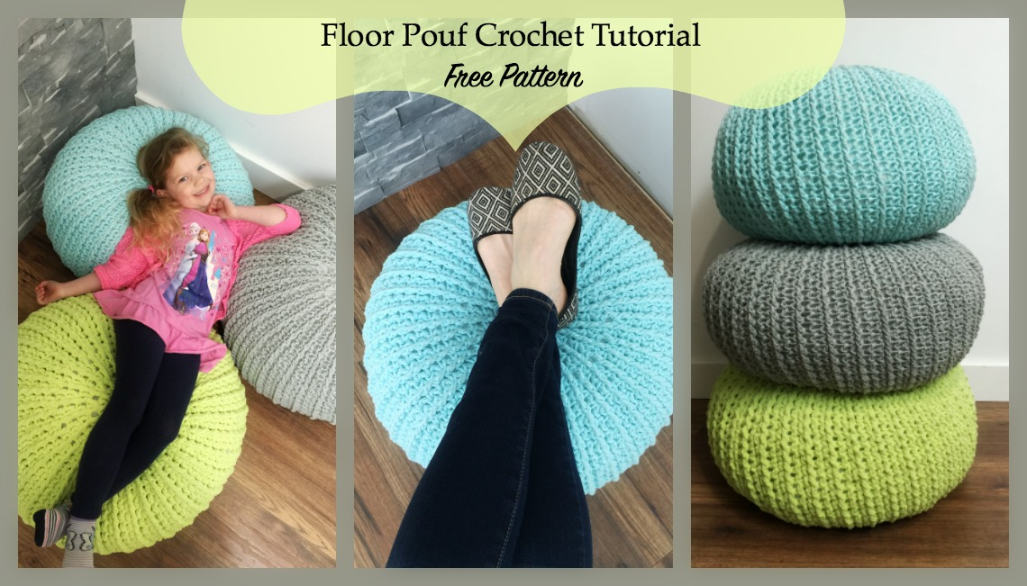 Free Crochet Floor Pouf Tutorial MJ's Off The Hook Designs Custom Knitted Floor Pouf Pattern