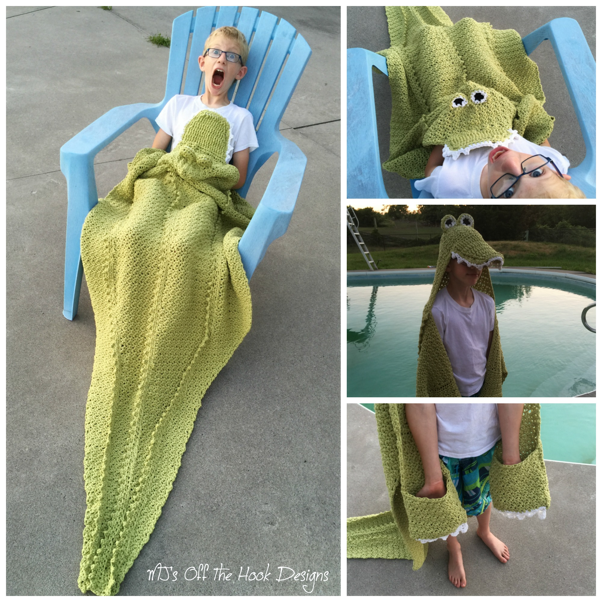 Hooded Alligator Beach Towel Mjs Off The Hook Designs