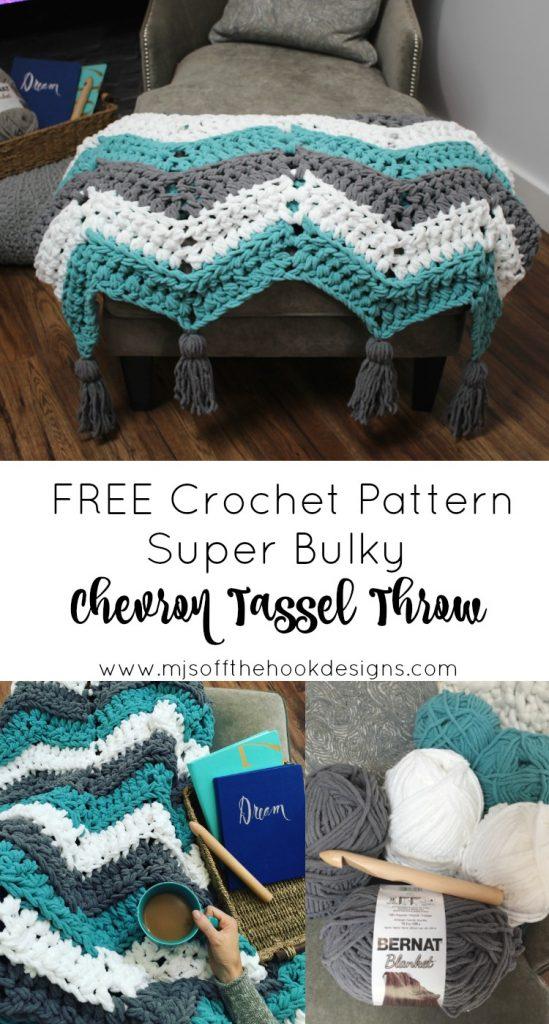 FREE crochet pattern Chevron Tassel Throw! - MJ's off the