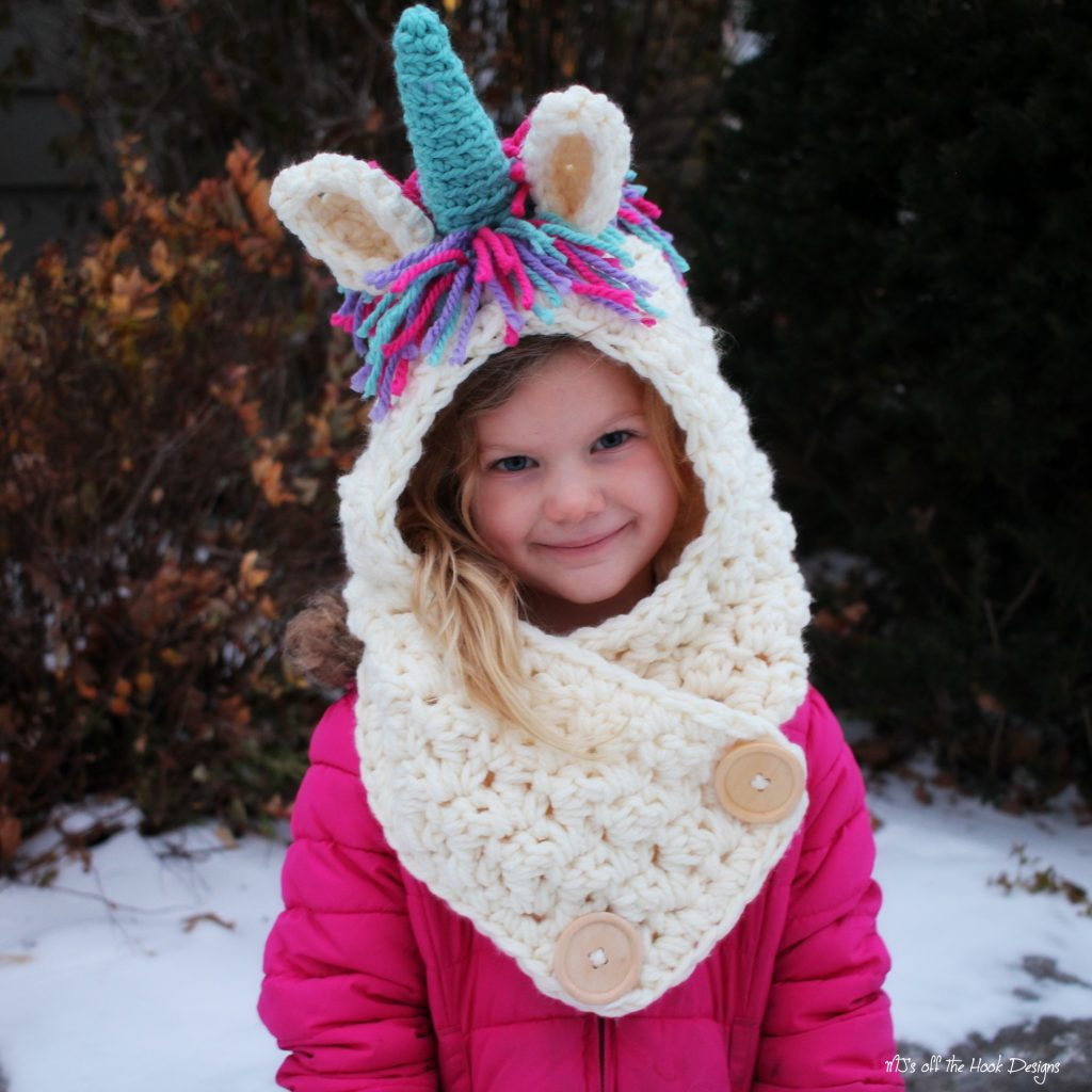 Knitting Pattern For Unicorn Hooded Scarf : Always Be a Unicorn! - MJs off the Hook Designs