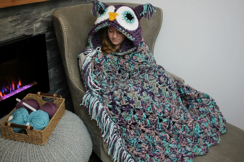 Viral Hooded Owl Blanket MJ's Off The Hook Designs Unique Owl Afghan Crochet Pattern Free