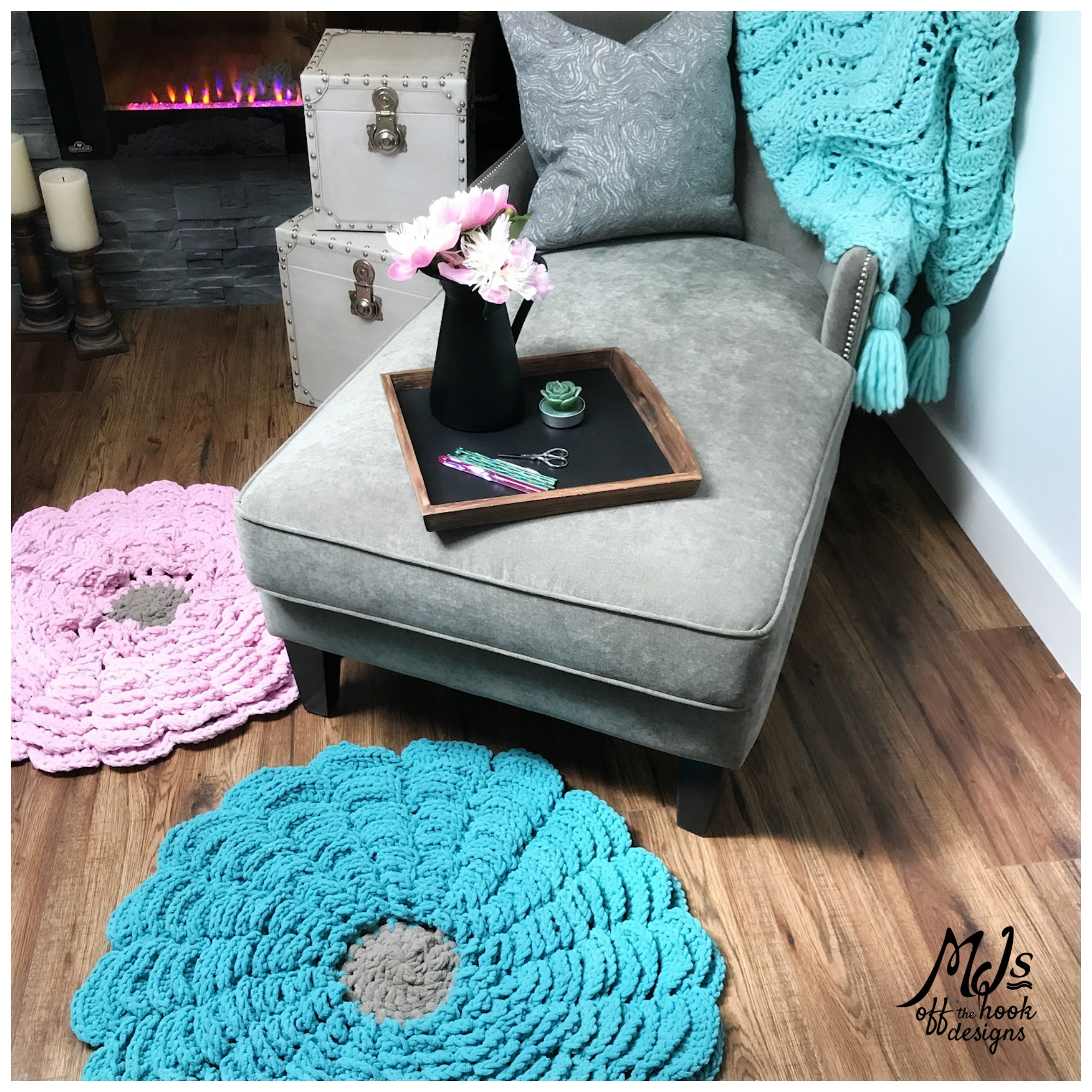 Crochet Flower Rug Video Tutorial Mj