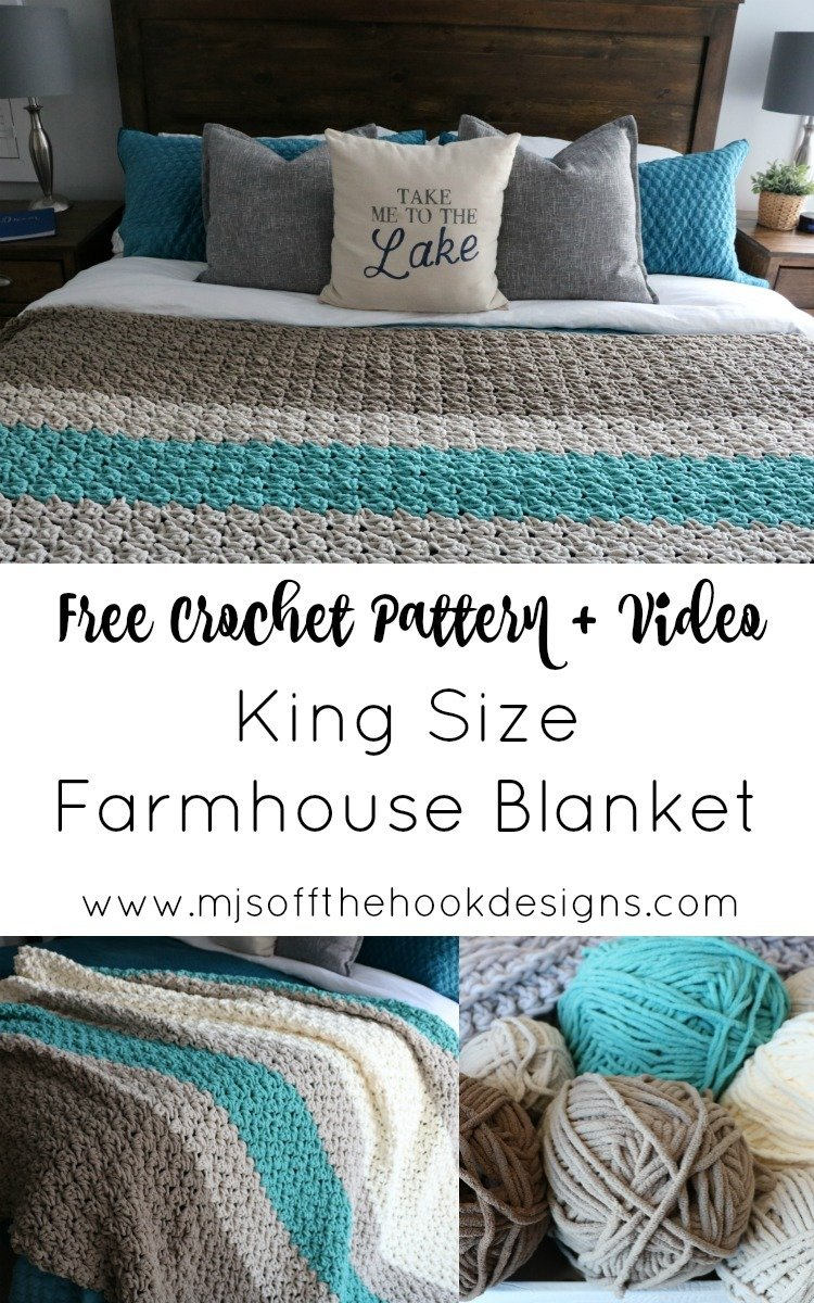 Crochet a King Size Farmhouse Blanket - Free pattern - MJ's