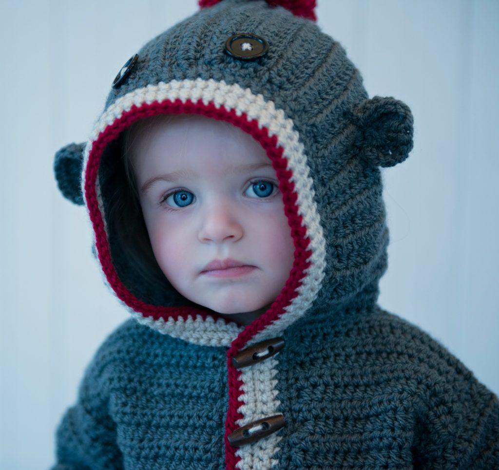 crochet sock monkey hoodie