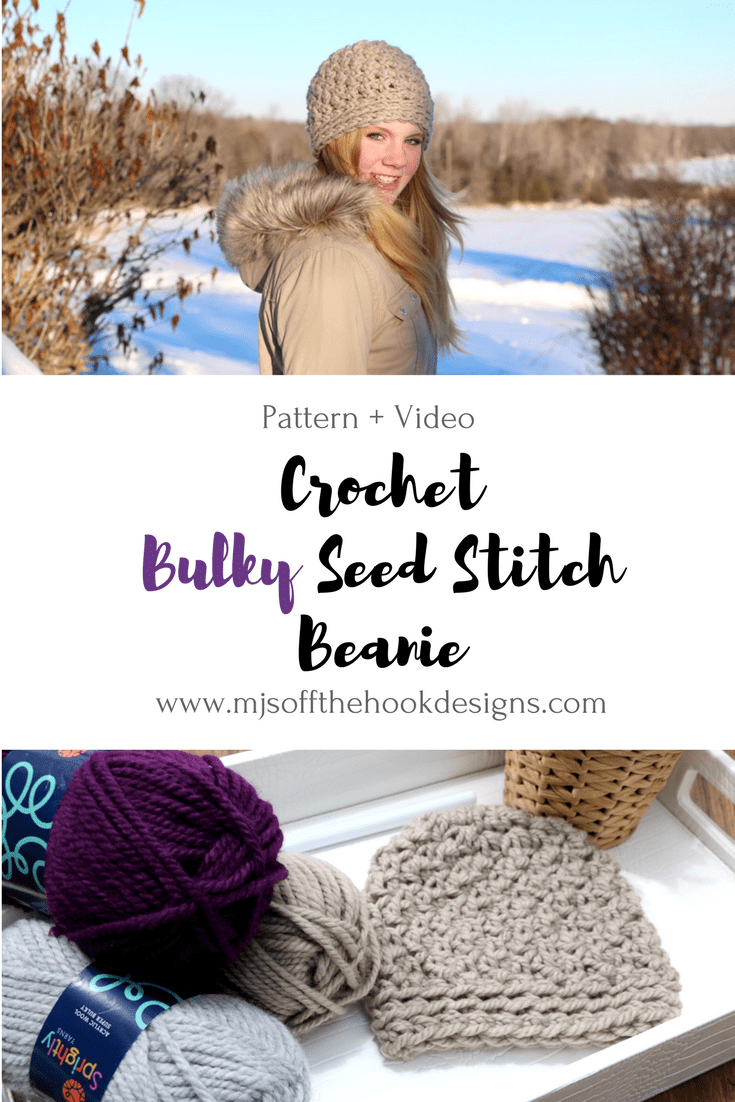 How to Crochet Seed Stitch Beanie - MJ\'s off the Hook Designs