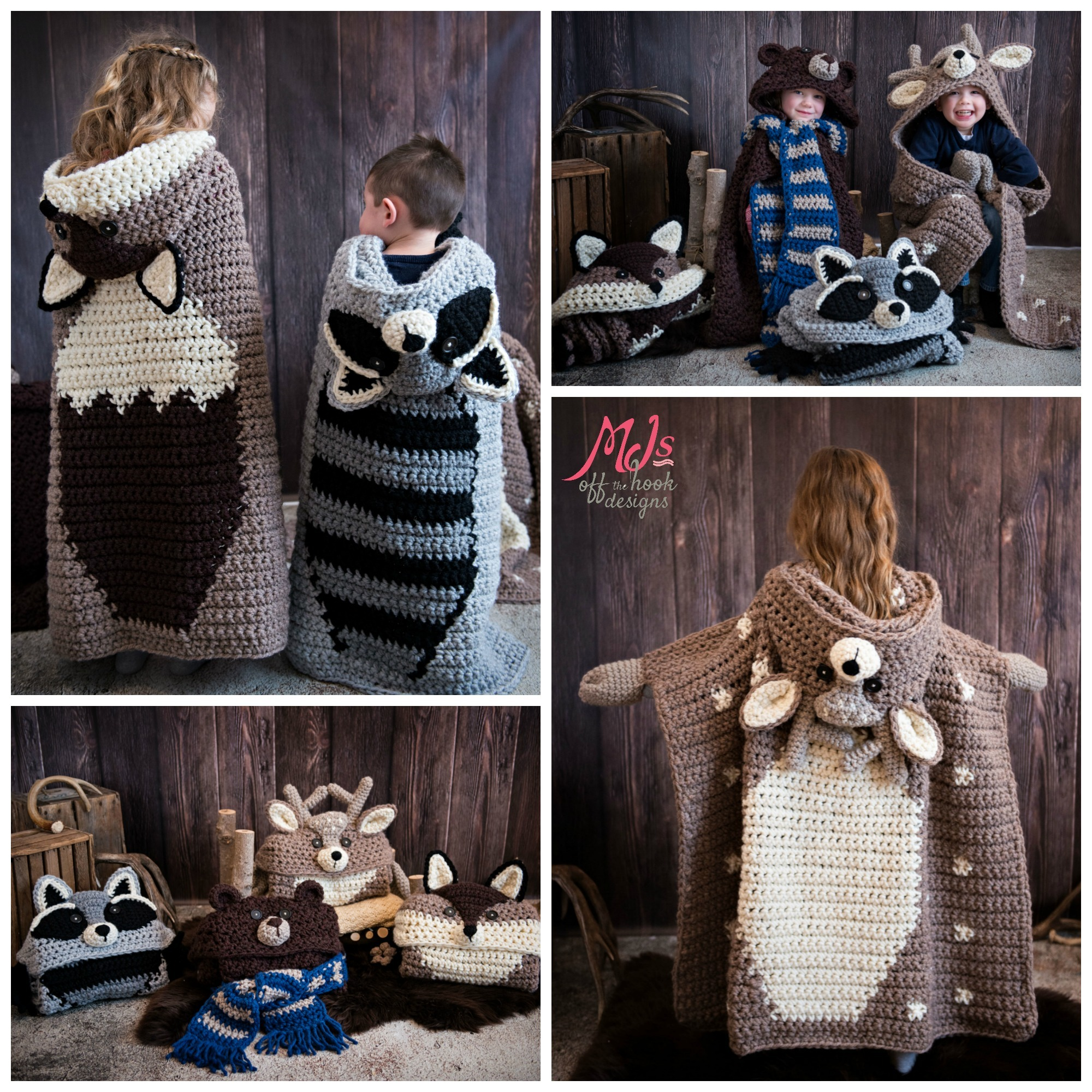 Hooded Woodland Blanket Collection Mjs Off The Hook Designs