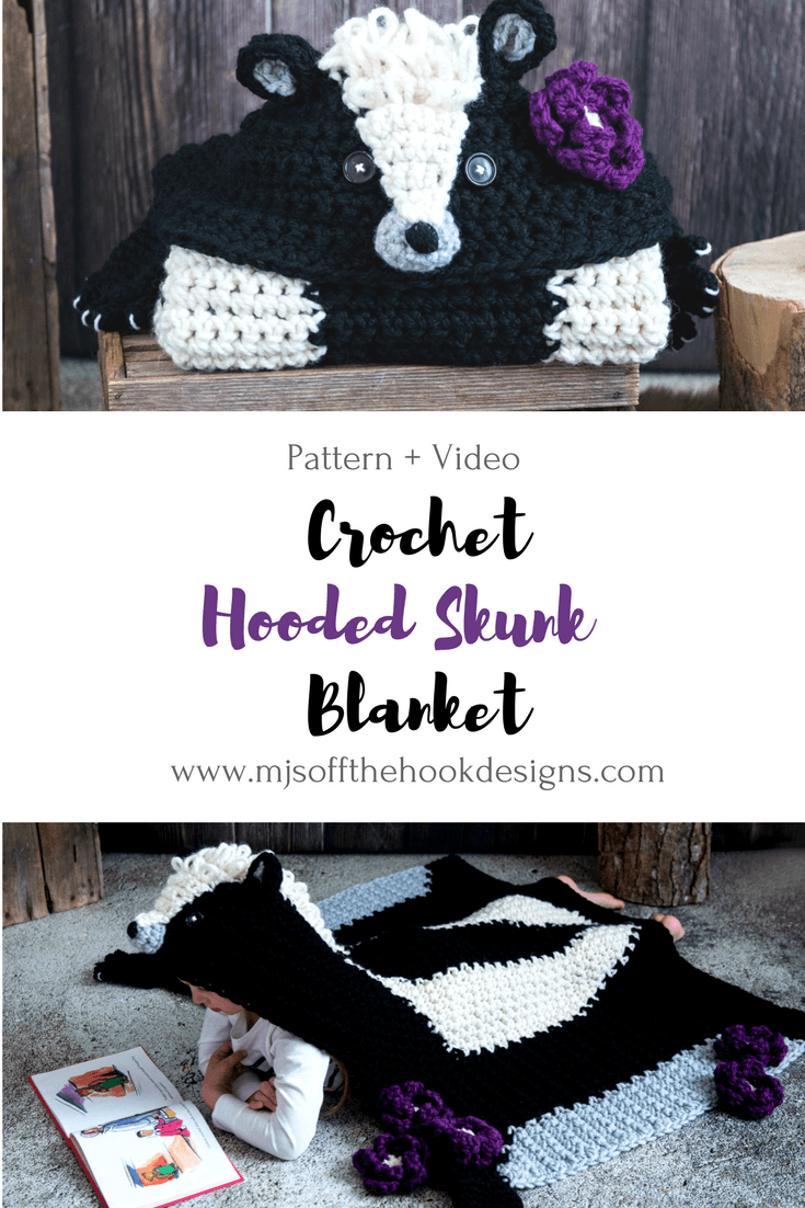 Crochet Hooded Woodland Skunk Blanket Mjs Off The Hook Designs