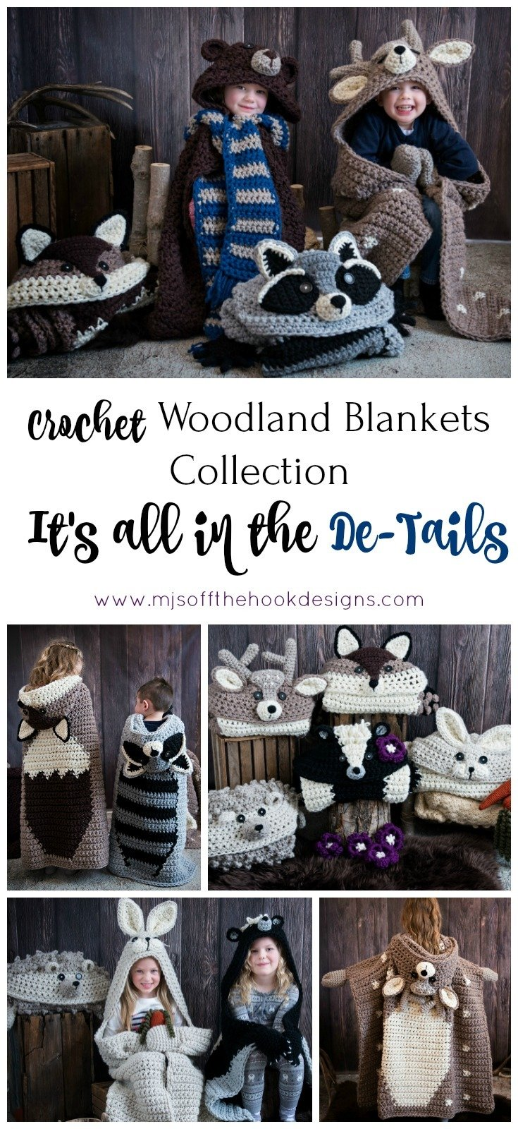 Crochet Hooded Animal Blankets Mjs Off The Hook Designs