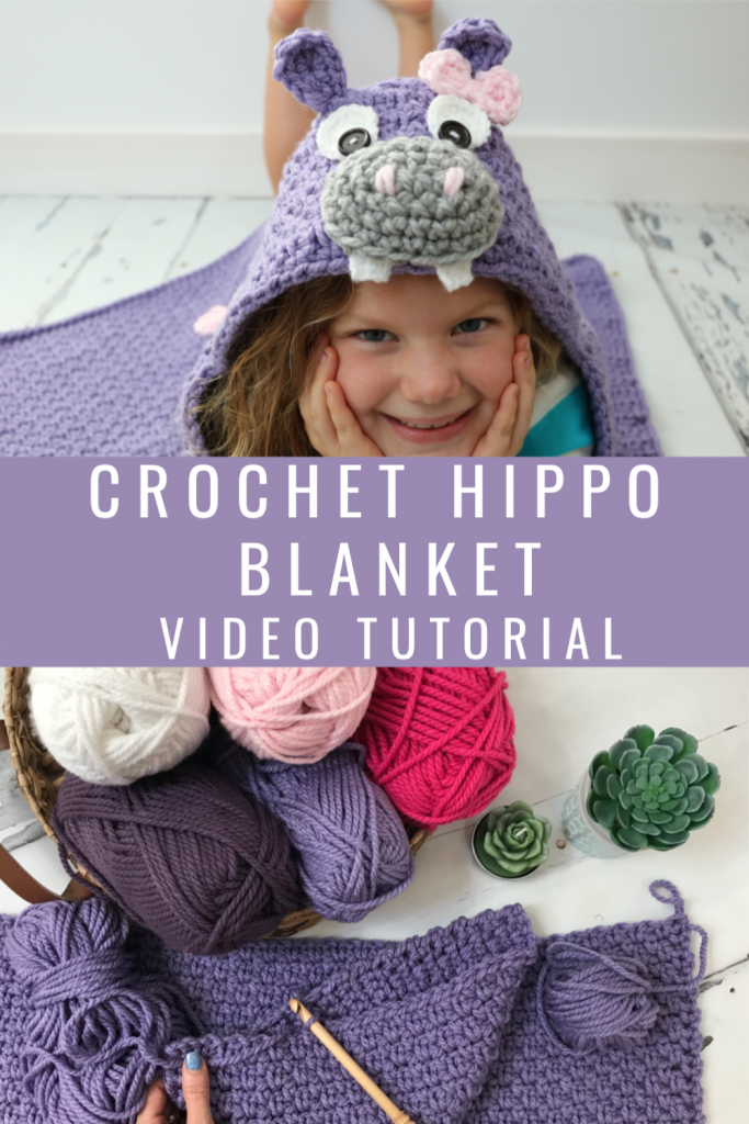 Crochet Hooded Hippo Blanket