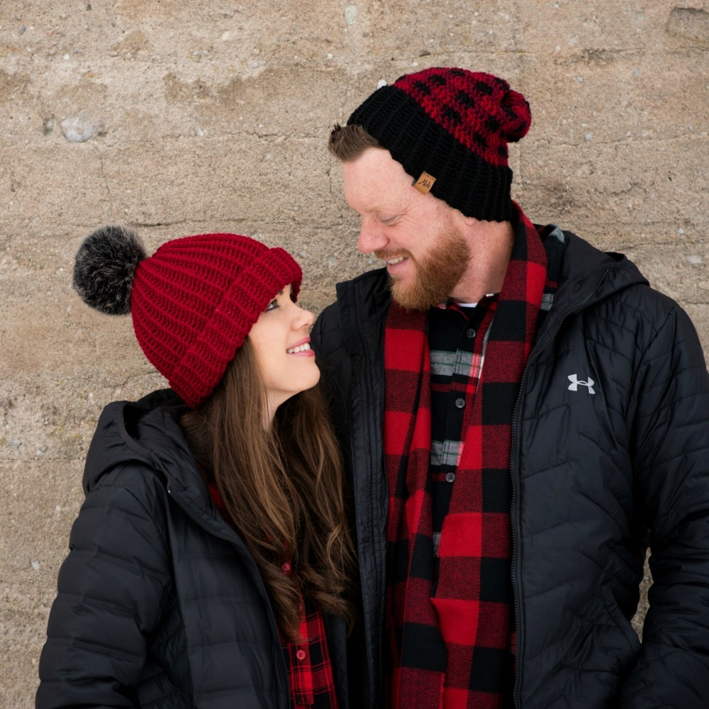 Crochet Buffalo Plaid Family Hats