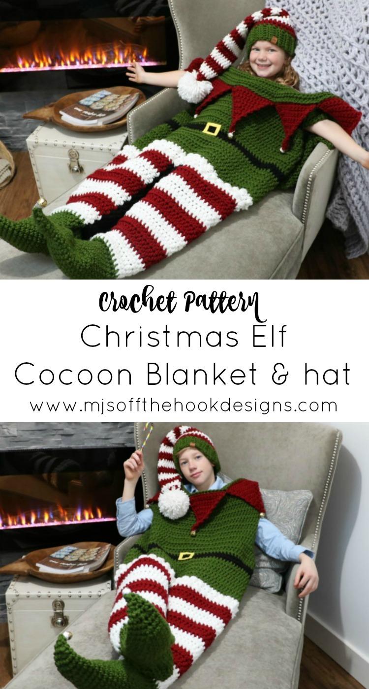 Christmas Elf Cocoon Blanket Hat Mjs Off The Hook Designs