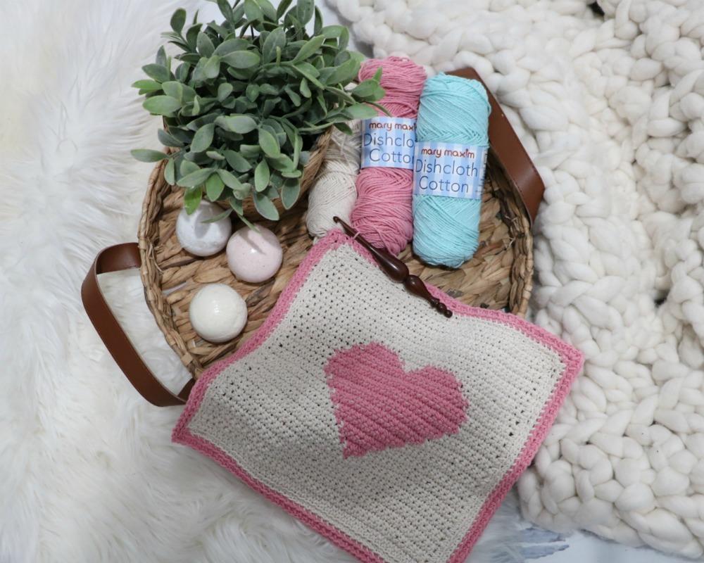 Crochet Heart Dishcloth Pattern