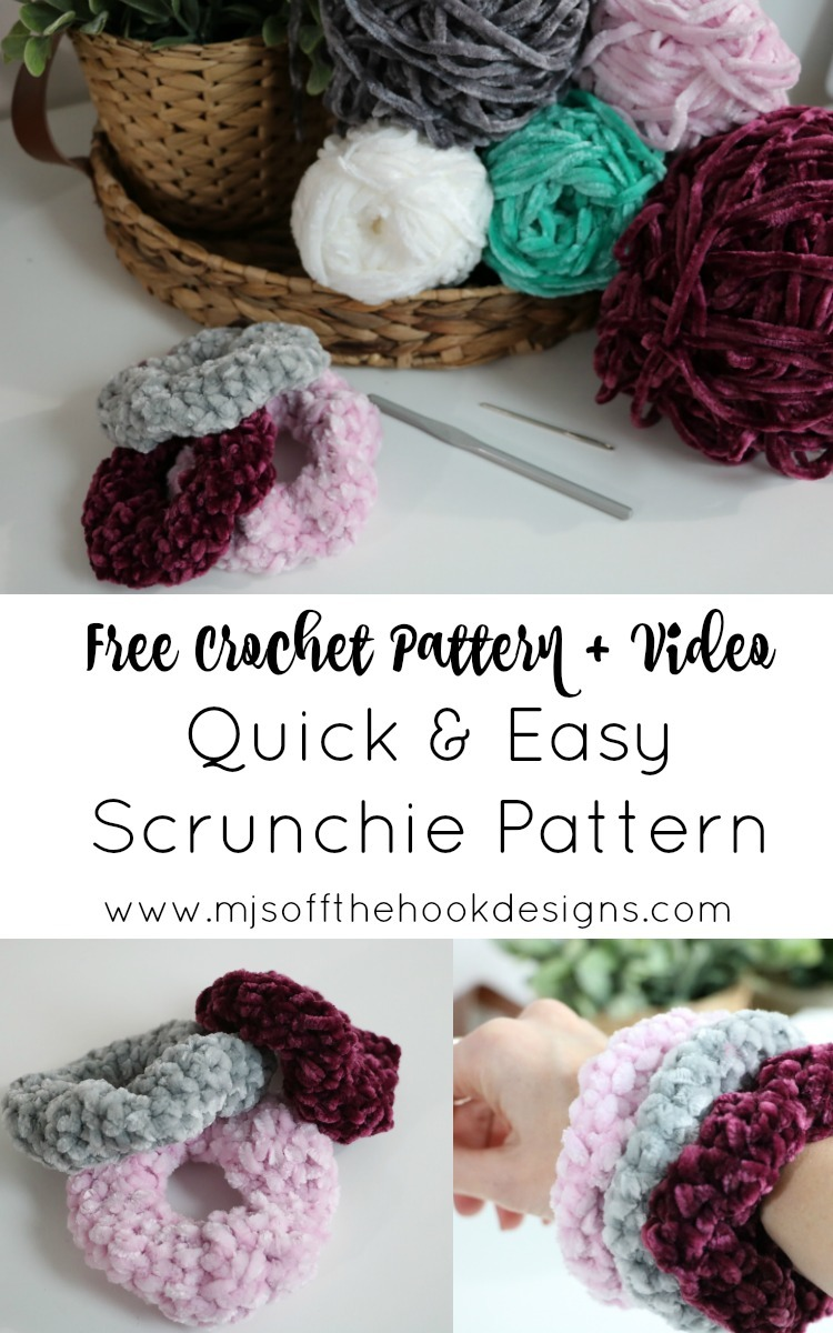 Quick Easy Crochet Scrunchie Pattern Mjs Off The Hook Designs