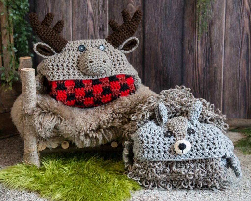 Crochet Hooded Moose Blanket