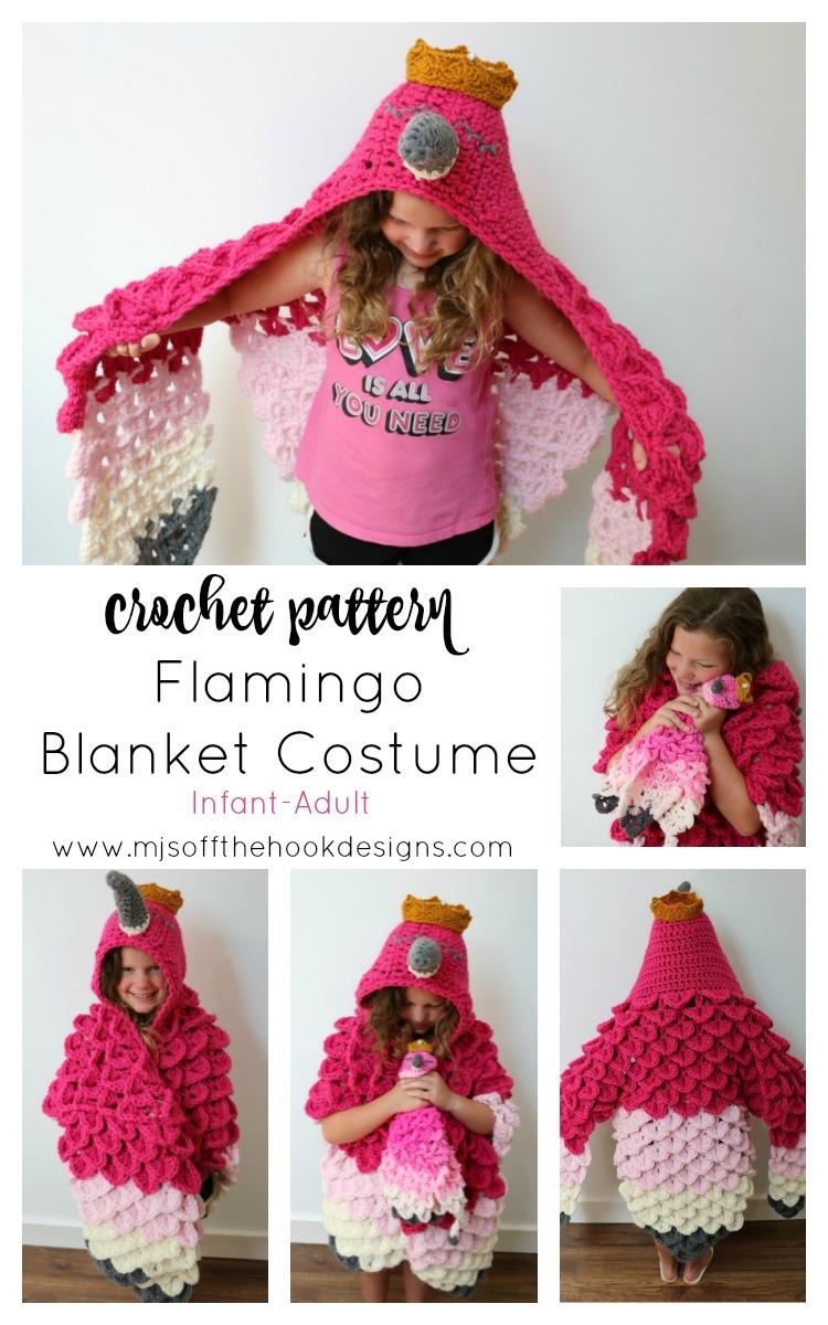Hooded Flamingo Blanket Costume Mj S Off The Hook Designs
