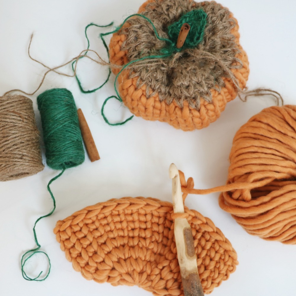 knit look rustic pumpkin
