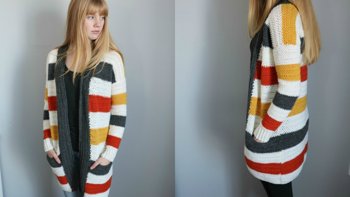 Everyday Striped Cardigan - Mj&039;S Off The Hook Designs - Crochet Cardigan