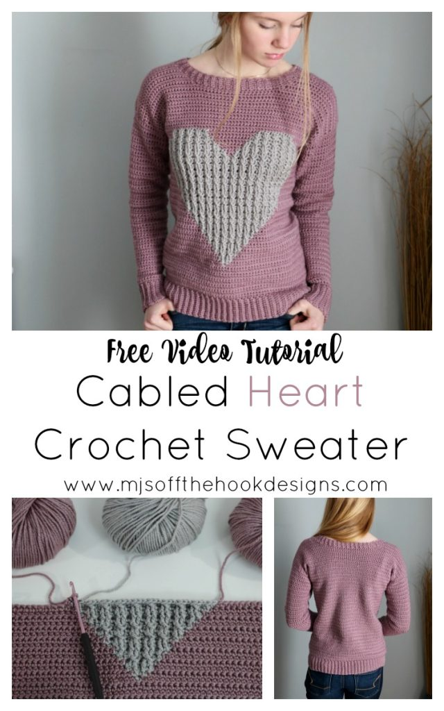 cabled heart pullover pin