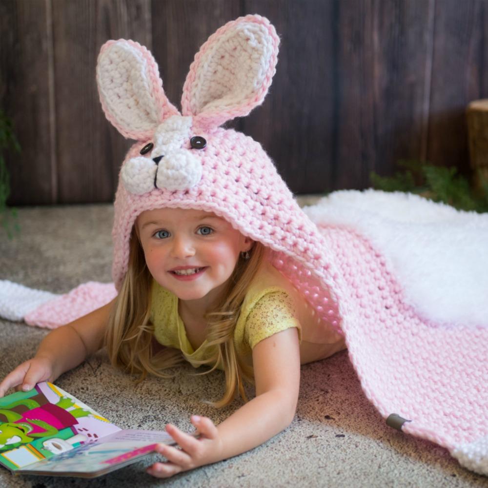 Crochet Hooded Rabbit Blanket