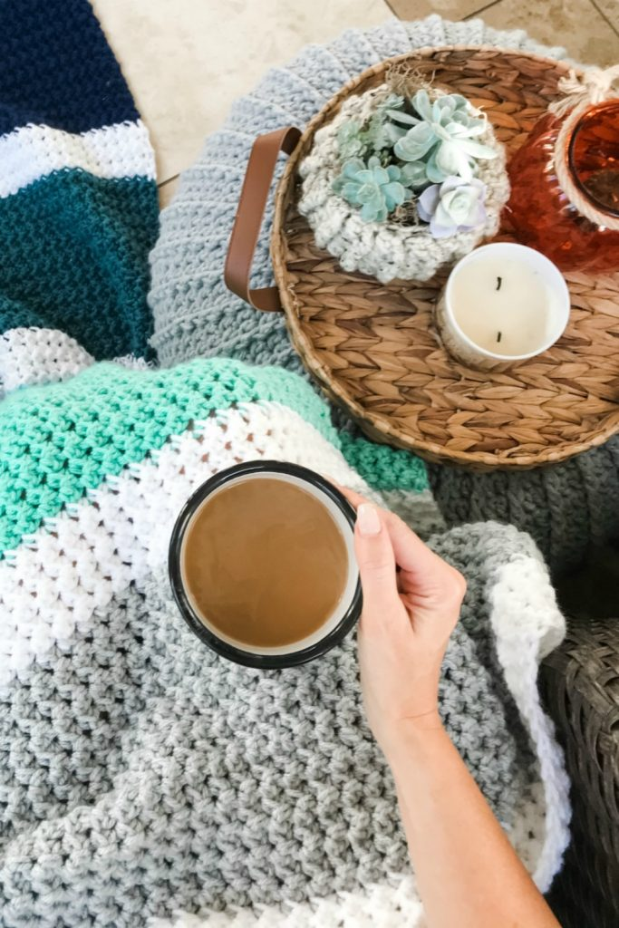 calming coffee and crochet blanket