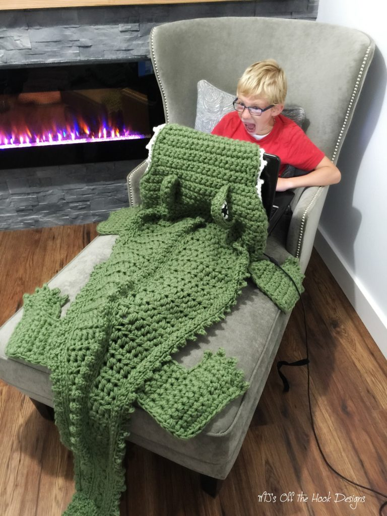Alligator and Dinosaur Crochet Blankets