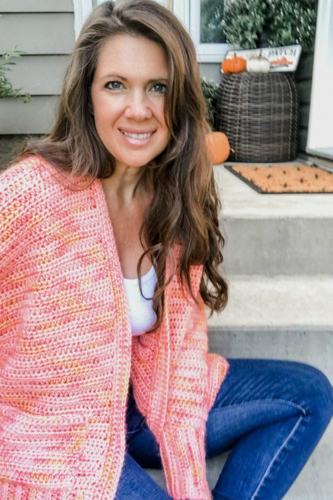 easy crochet fuzzy peach cardigan