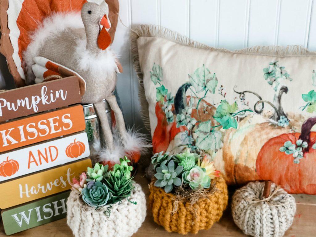 Easy DIY Succulent Pumpkin Cozy, fall decor ideas