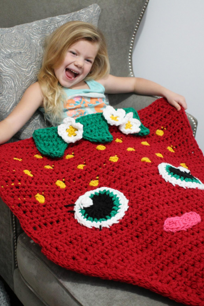 strawberry cocoon blanket