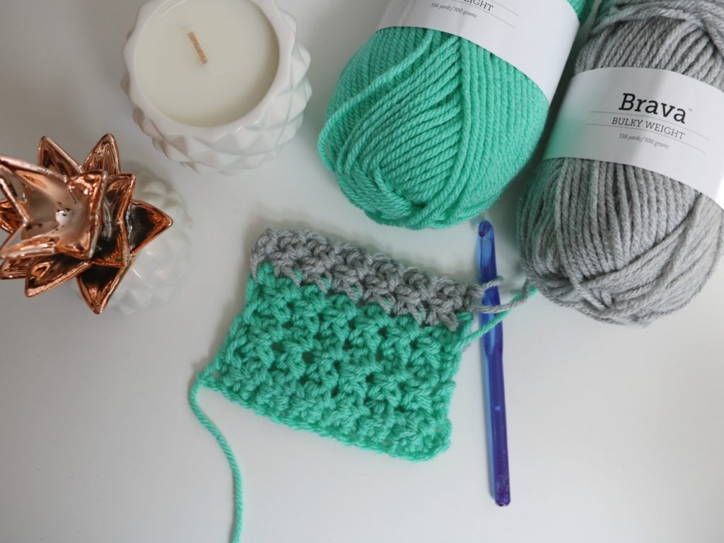 crochet swatch in brava bulky yarn