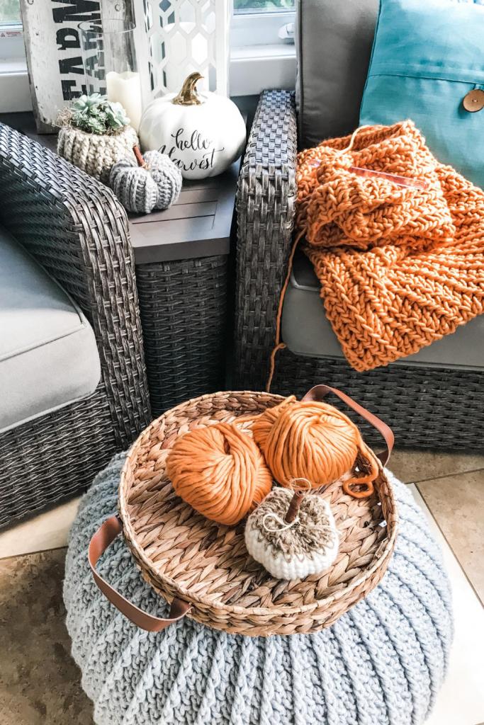 Crochet Chunky Blanket DIY orange blanket