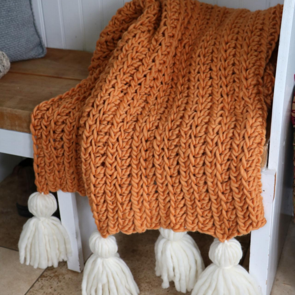 Crochet Chunky Blanket with tassels