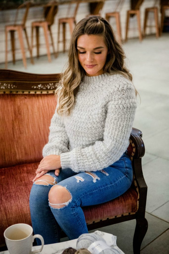 crochet top down sweater