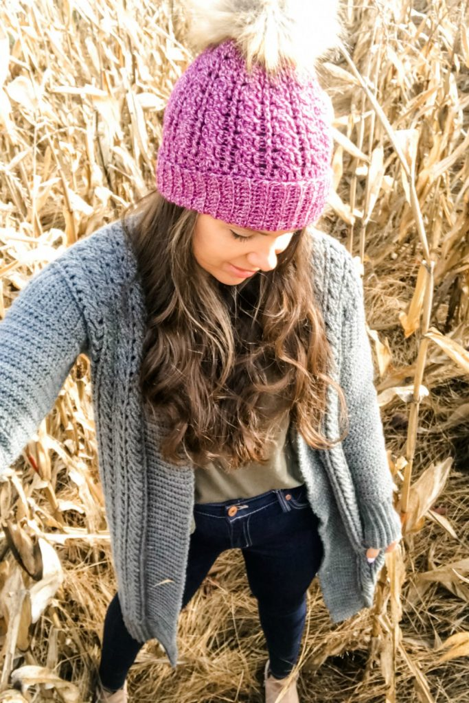 crochet cabled hat and cardigan