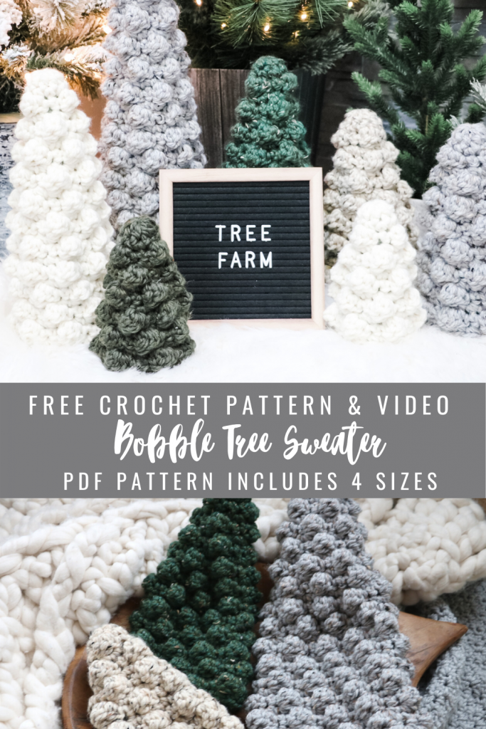 Free crochet pattern bobble Christmas tree