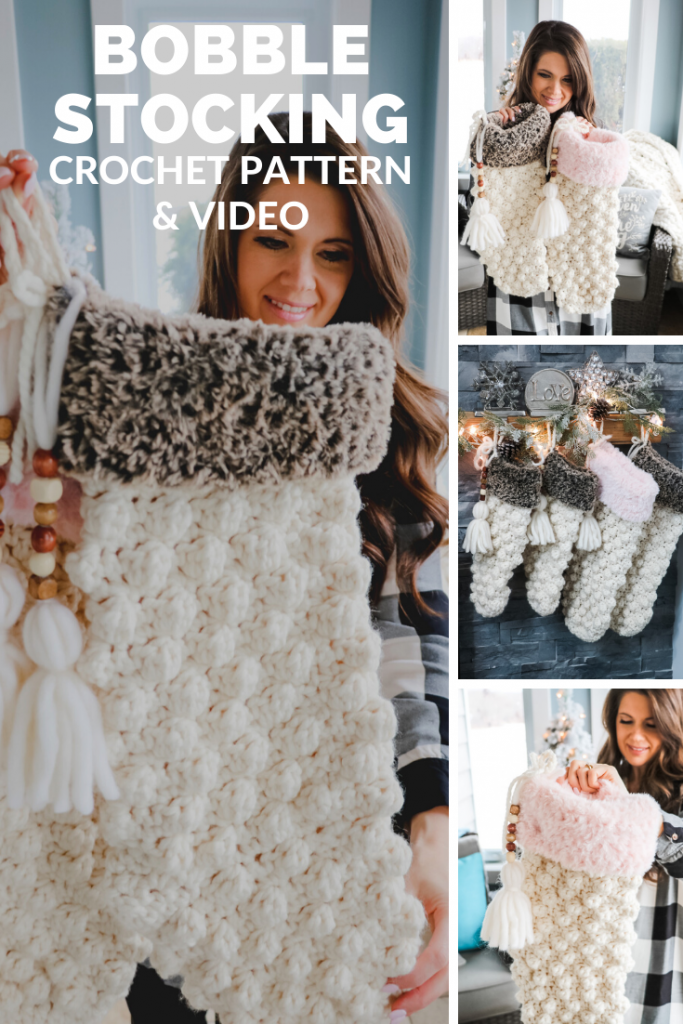 bobble stitch crochet stocking pattern