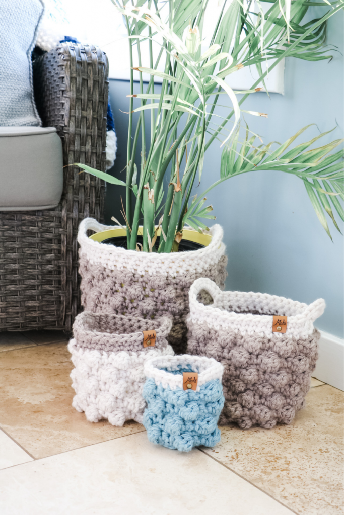 bobble stitch crochet basket