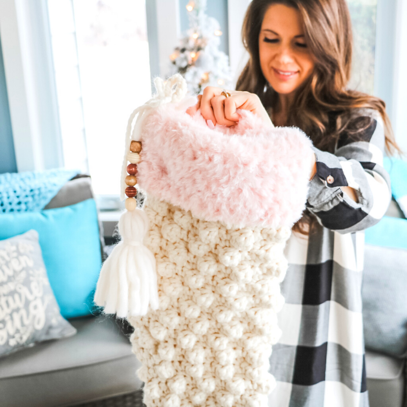 crochet fur stocking