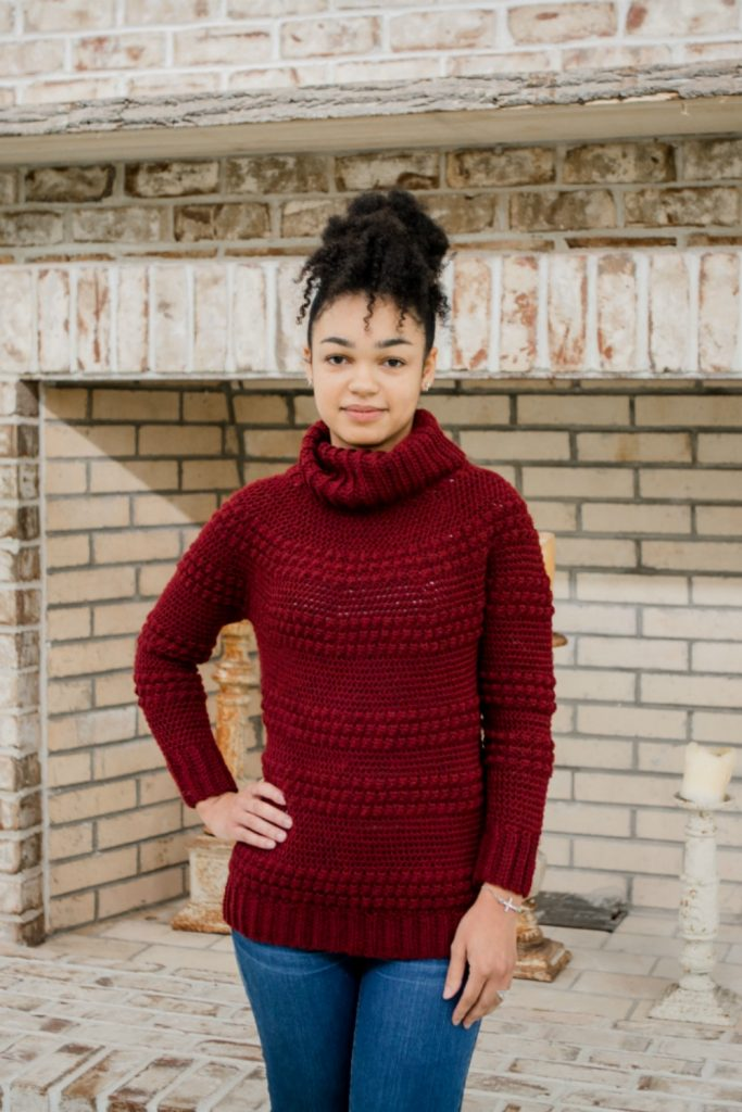 Cranberry Biscotti Crochet Sweater