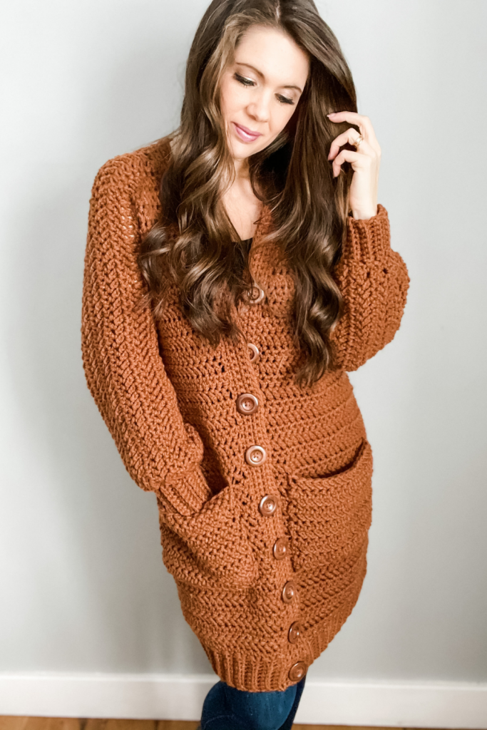 Button-up crochet cardigan