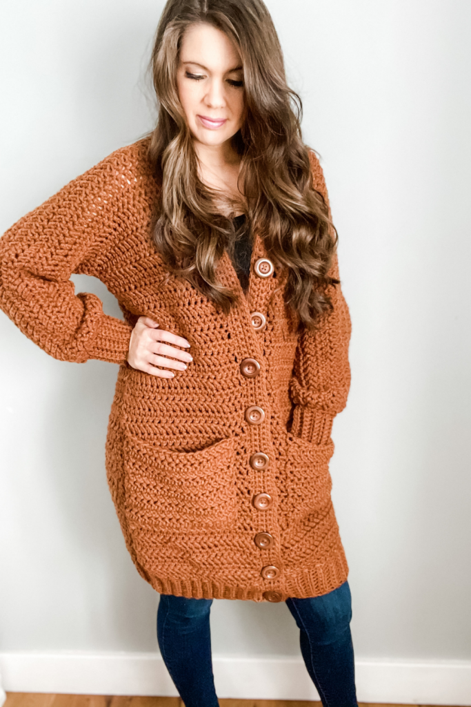 Crochet cardigan with pockets and buttons