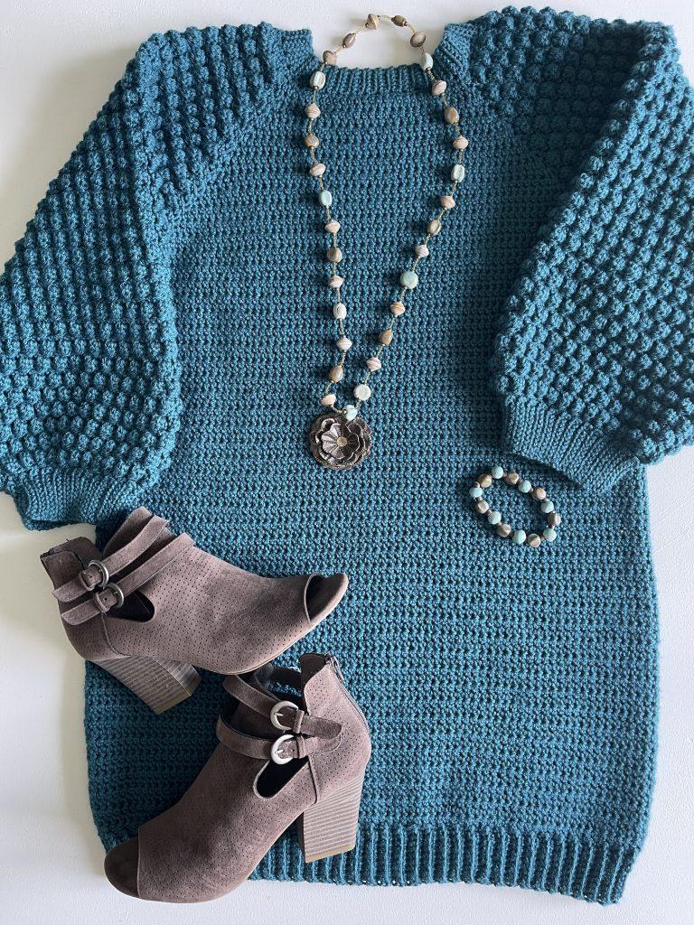 Bobble Sleeve Crochet Dress