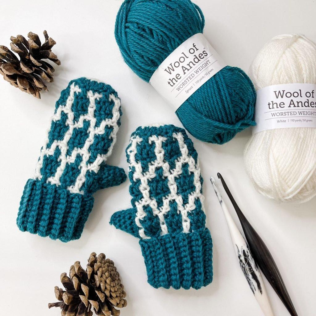 Mosaic Crochet Mittens